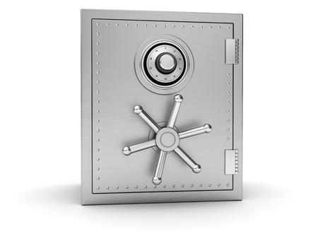 caja fuerte: Segura la plata Big aisladas sobre fondo blanco