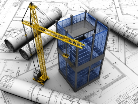 plan van aanpak: Nieuw modern bouwen project Stockfoto