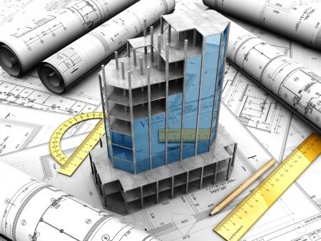 planos arquitecto: Proyecto de dise�o moderno con l�piz y reglas en ella Foto de archivo