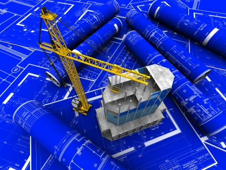 Modern building with crane placed blue paper of architectural project Stock Photo - 14674539