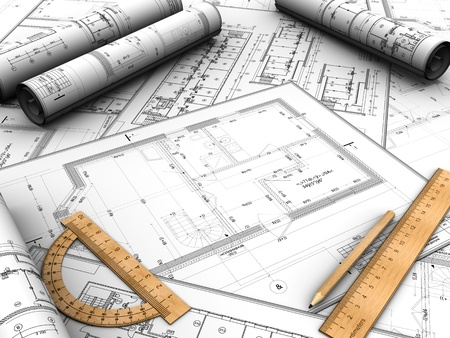 Modern design plan with pencil and rules on it photo