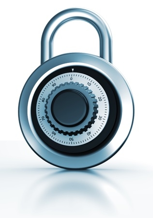 padlocked: Modern dial lock with code isolated on a white background