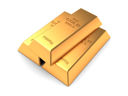 fine gold: Three gold bars isolated on a white background Stock Photo
