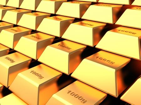 lingotes de oro: Varios bares de oro en la b�veda bancaria, el concepto de