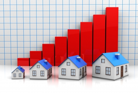 investing: Growth price of  houses with red graph Stock Photo