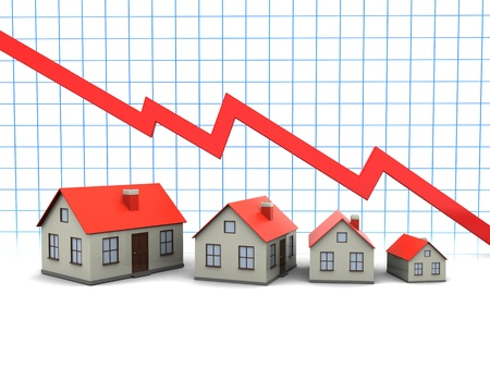 and decline: Red graph and houses   decline in sales