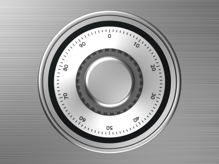 Safe dial with code isolated on a mettalic background Stock Photo - 14674531