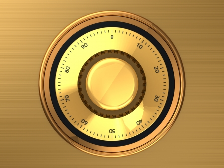 Golden safe dial with code photo