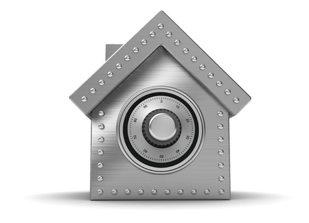 Iron safe in form houses isolated on white background photo