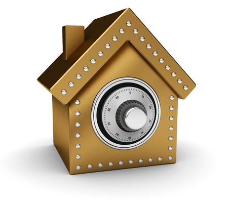 safe investments: Oro casa sicura isolato su sfondo bianco Archivio Fotografico