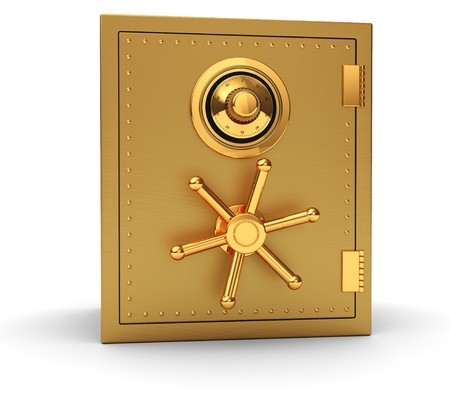 combination lock: Big golden safe isolated on white background