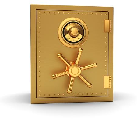 Grande cassaforte d'oro isolato su sfondo bianco Archivio Fotografico