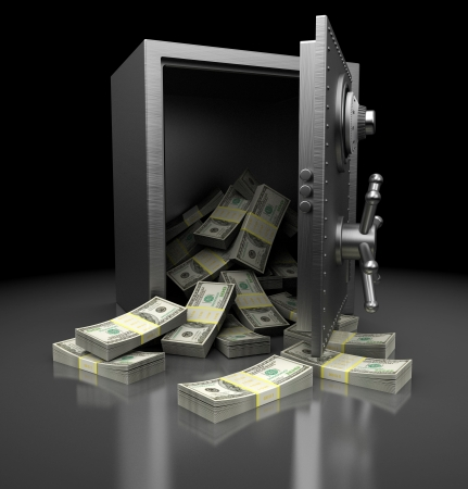 Open safe with dollars over mettalic background photo