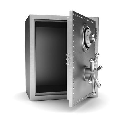 Caja de seguridad de metal con un espacio vacío en el interior