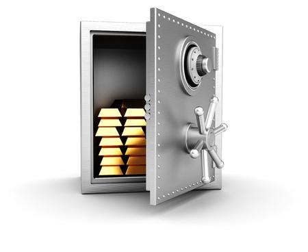 caja fuerte: Concepto riqueza abrir la caja fuerte con las barras de oro aisladas sobre fondo blanco