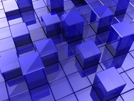 building blocks business: Blue modern background made of cubes