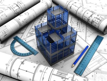 arquitecto: Proyecto de dise�o moderno con el l�piz y las normas en �l