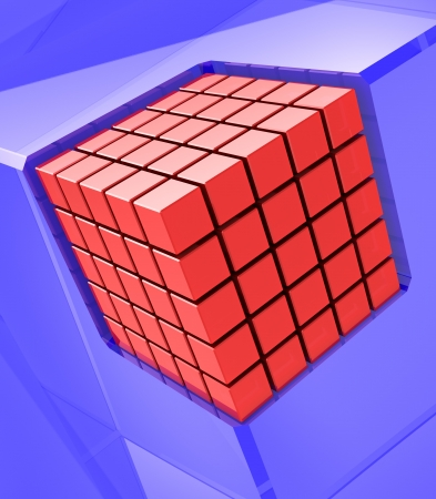 Red digital cube in the corner of blue box photo