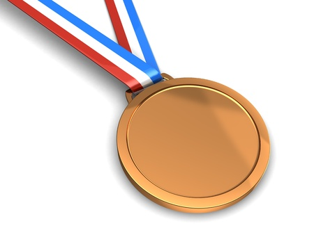 Golden champion medal isolated on a white background photo