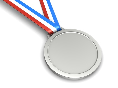 Silver champion medal isolated on a white background photo