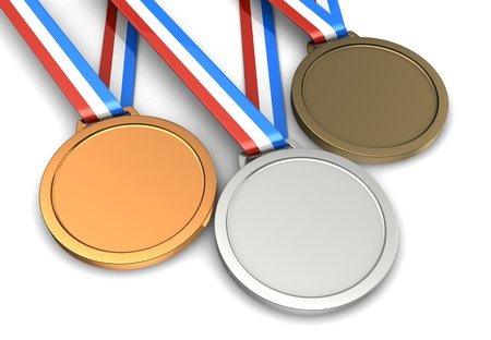 Golden, silver, bronze champion medals isolated on a white background photo
