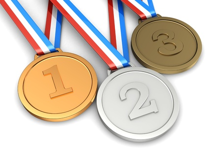 Golden, silver, bronze medals � first, second, third places of sport champion photo