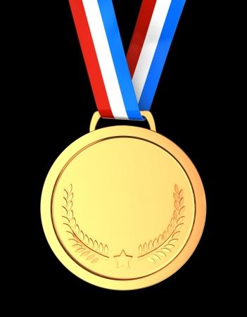 Golden champion  medal over black background photo