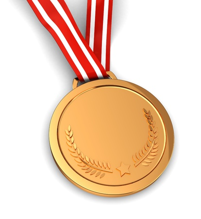 gold record: 3d of golden medal -  winner sport champion Stock Photo