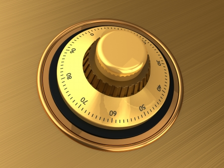 Close-up of golden safe dial with code Stock Photo - 14763992