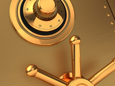Close-up of  golden safe with code and handle photo