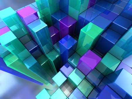 cubic: 3d abstract background of blue modern cubes