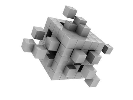 abstract 3d blocks: Grey modern cube isolated  on white background