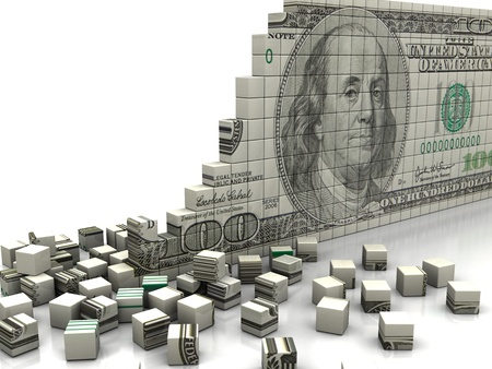 bankrupt: Finance concept  puzzle dollar with pieces near by