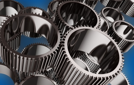3d image of grey wheel gears system Stock Photo - 14763904