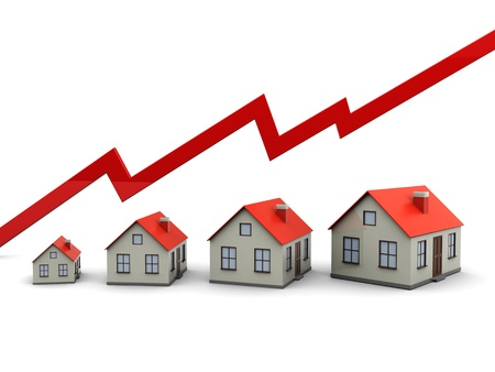 Red graph and houses  growth in real estate