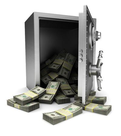 safe investments: Aperto sicuro con dollari isolato su sfondo bianco