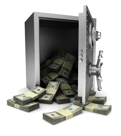 Open safe with dollars isolated on white background photo