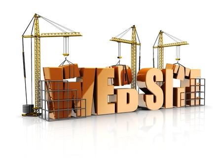 building a website: Text web site with cranes, 3d