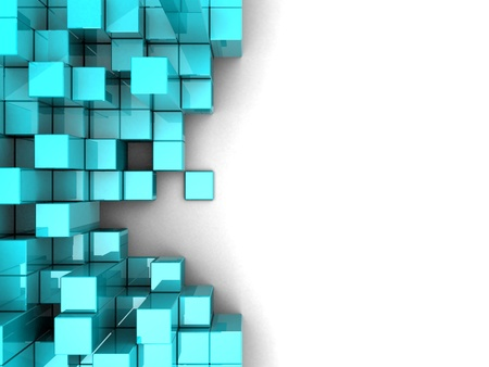 abstract 3d blocks: Blue modern cubes over white background