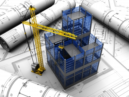 construction project: New modern project of building with crane Stock Photo