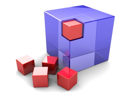 Blue big cube with red small box in the corner with four near by photo