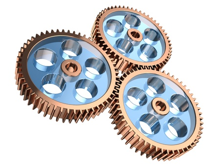 Modern gears making system isolated on a white background photo