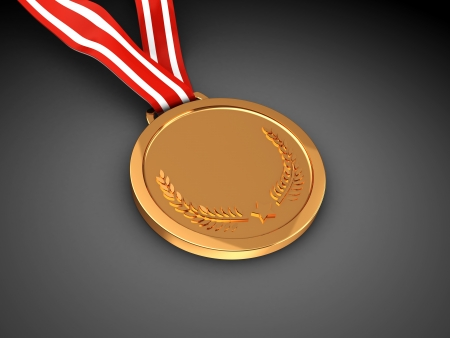 Golden champion  medal over black background photo