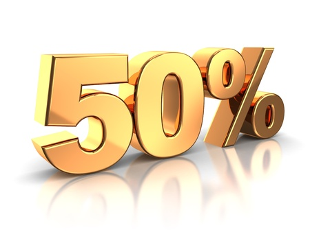 3d of golden 50 percent isolated on a white background