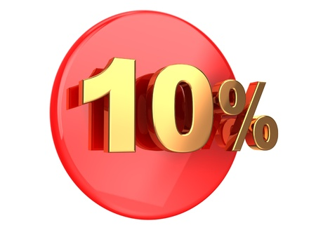 pay off: Discount coupon  10 percent on a red circle Stock Photo
