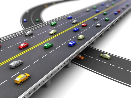 lane: 3d of road way with several cars driving