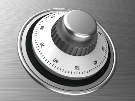 Close-up of silver safe dial with code Stock Photo - 15209570