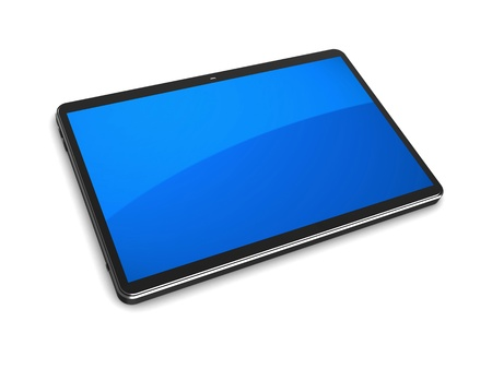 3d illustration tablet computer with blue screen isolated on a white background illustration