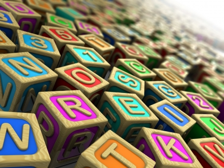 3d illustration  wooden cubes with letters and numbers illustration