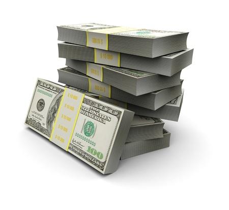 apilar: Juego 3d ilustración de billetes de 100 aislados sobre fondo blanco Foto de archivo